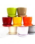 Ghiveci ceramic colorat cu farfurie 10,5 cm
