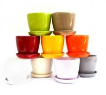 Ghiveci ceramic colorat cu farfurie 14,5 cm