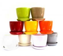 Ghiveci ceramic colorat cu farfurie 16.5 cm