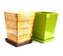 Ghiveci ceramica dreptunghiular cu farfurie 20 cm