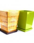 Ghiveci ceramica dreptunghiular cu farfurie 26 cm