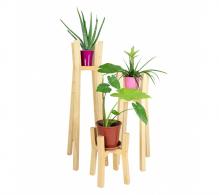 Set 3 suporturi flori din lemn masiv, tip stalpi. Suporturi flori din lemn masiv.