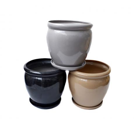 comanda ghiveci ceramic cu farfurie 22 cm