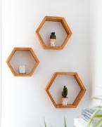 Set rafturi hexagonale pentru mini plante, lemn masiv