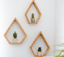 Set rafturi pentagonale pentru mini plante, lemn masiv