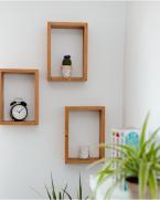 Set de rafturi dreptunghiulare pentru mini plante, lemn masiv